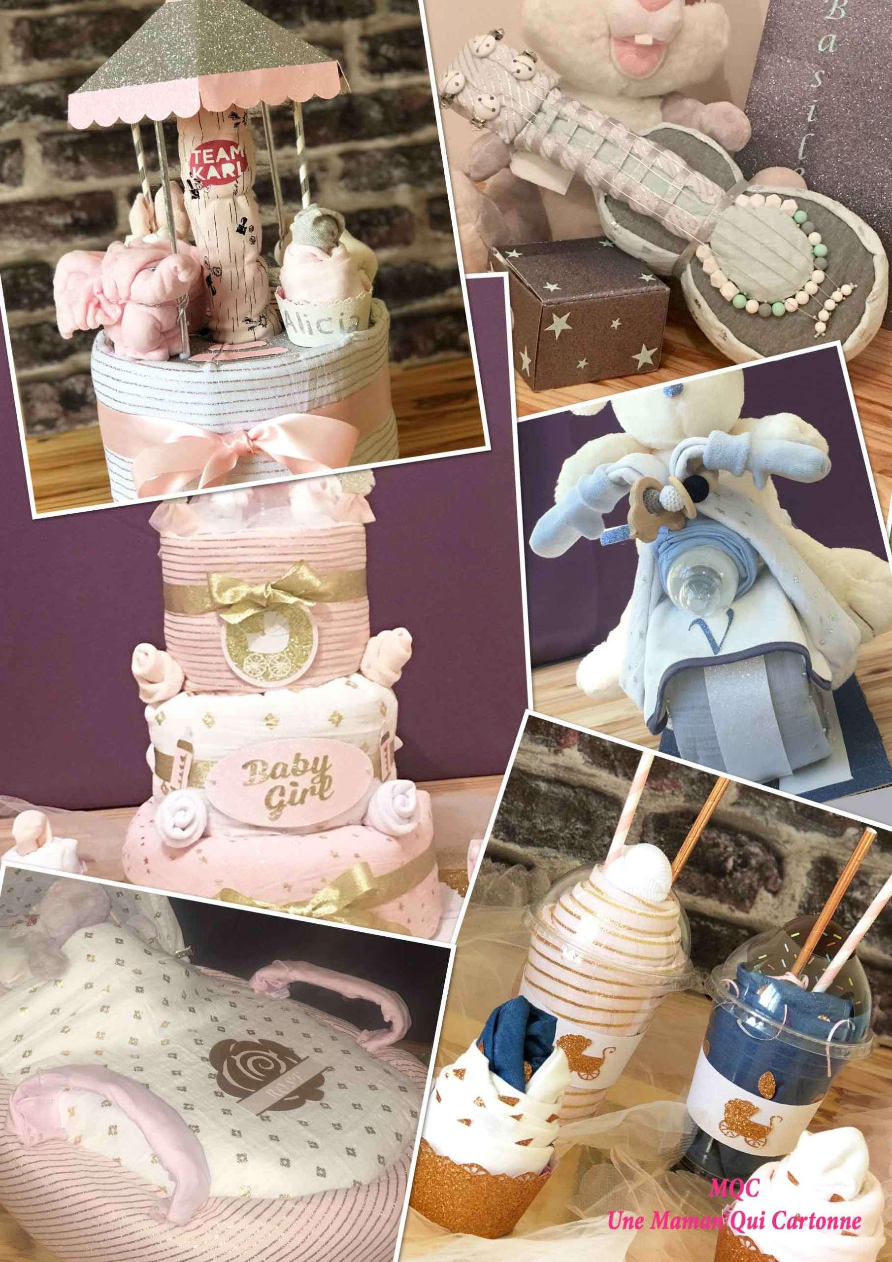 Cadeau Rigolo Baby Shower le gâteau de couches, un cadeau 3 en 1 - une maman qui cartonne