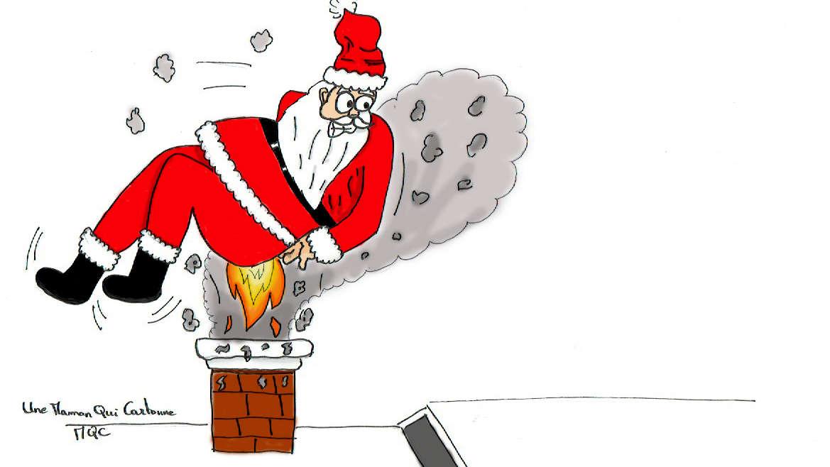 pere noel et feu dans la cheminée